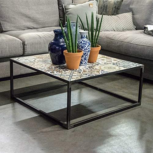 Pharao24 Couch Beistelltisch aus Keramik und Stahl Bunt und Anthrazit