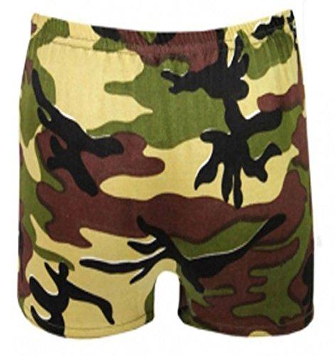 Islander Fashions Kinder Plain Stretchy Neon Hot Pants M�dchen Dance Gym Lycra Party Tutu Shorts Camouflage 5-6 Jahre (Tutu Camouflage)