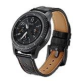 SUNDAREE Gear S3 Frontier/Classic Armband,Galaxy Watch 46MM Armband,22MM Echt Lederarmband Ersatz Armband Strap Uhrenarmband für Samsung Galaxy Watch 46MM/Samsung Gear S3 Frontier/Classic(Black Leder)