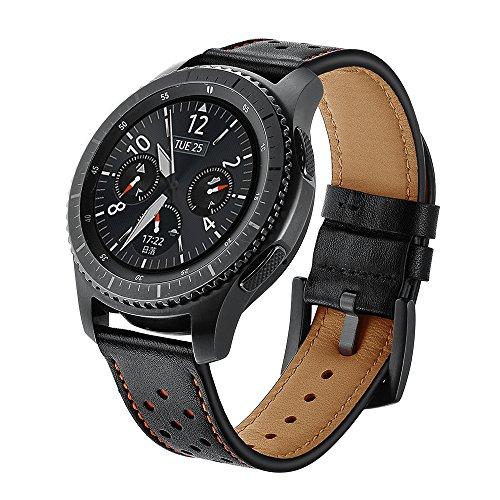 Sundaree Correas Galaxy Watch 46mm/Gear s3 Frontier/Gear S3 Classic,22mm Piel Genuina Reemplazo Banda Pulseras de Repuesto Correa de Reloj Inteligente para Samsung Galaxy Watch 46mm/Gear S3(D-Black)