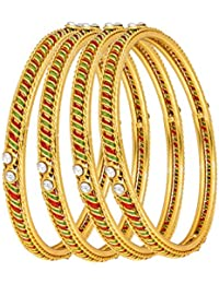 The Luxor Gold Plated Australian Diamond & Meenakari Studded Daily Wear Bangles Set
