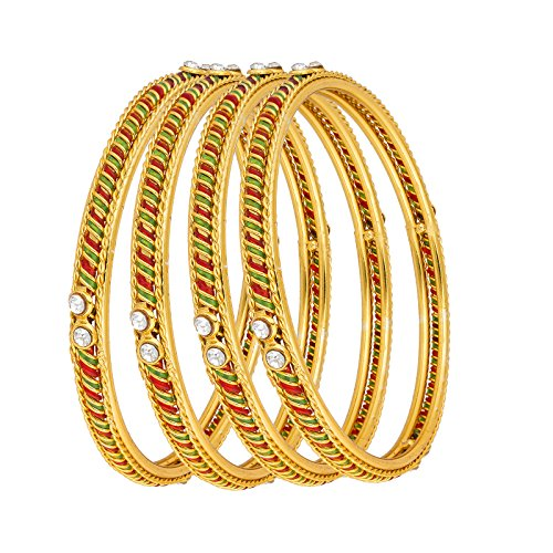 The Luxor Gold Plated Australian Diamond & Meenakari Studded Daily Wear Bangles Set (2.6)