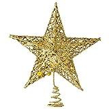 Ogquaton Estrellas de la Parte Superior del árbol Adorno de Brillo Dorado de Navidad Estrella de 5 Puntos Copas de árbol Dorado Muy Popular y útil