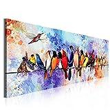 OMGO d'oiseaux Heureux Tableau Décoratif Mural Impression, sur Toile Dessin d'Ornement Moderne Photo Image Peinture Suspendue Décorative Décoration Murale pour Maison Hôtel Bureau Salon 50x150cm
