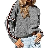 Damen Pullover Sweatshirt Ronamick Patchwork gestrickt Gestreiftes Patchwork Langarm Beiläufige Stricken Strickpulli Strickjacke Strickpullover(XL, Grau)