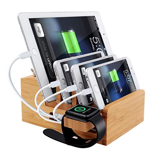 iCozzier Bamboo 5-Port USB-Schnellladestation Dock Desktop Organizer / Halter für Apple Watch, iPhone, iPad und iWatch Stand Cord Organizer (aktualisierte Version) Usb Desktop Dock