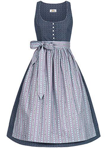 Almsach Damen Trachten-Mode Midi Dirndl Renate traditionell Gr.32-54, Größe:42, Farbe:Blau/Hellblau