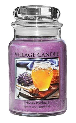 Honig Kalt Wachs (Village Candle Honig und Patchouli große Duftkerze im Glas, 737 g, violett, 9.7 x 9.5 cm)