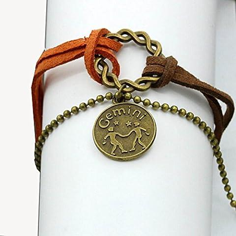 LEORX Vintage donne braccialetto ragazze PU e lega costellazione (Gemini) - Lega Wristband