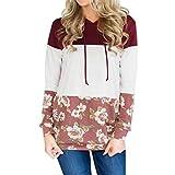Damen Blumen Kapuzenpullover, ZIYOU Langarm Pullover mit Kapuzen Sweatshirt Tops Bluse Frühling Herbst (XXL)
