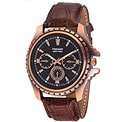 Fabiano New York Golden & Brown Mens & Boys Casual Analog Wrist Watch