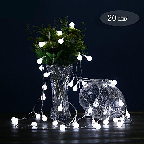 Preisvergleich Produktbild Kugel Lichterkette,  Morbuy 2m Kugel Lichterkette Kugel 1.8cm 3AA Batterie 20 LED Lichterkette Festlich Hochzeiten Geburtstag Party Lichterketten (Weiß)