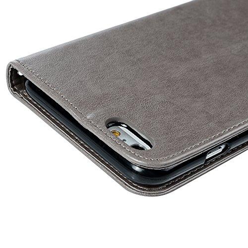 iPhone 6 Plus Hülle Mavis's Diary iPhone 6s Plus Tasche Drucken Rose Flip Cover PU Ledertasche Magnetverschluss Schutzhülle Case Telefon-Kasten Handyhülle Standfunktion Euit Fall Gray