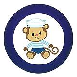 Türknauf Möbelknopf Möbelgriff Möbelknauf Jungen hellblau dunkelblau blau Massivholz Buche - Kinder Kinderzimmer Affe Äffchen sitzend Matrose maritim - dunkelblau