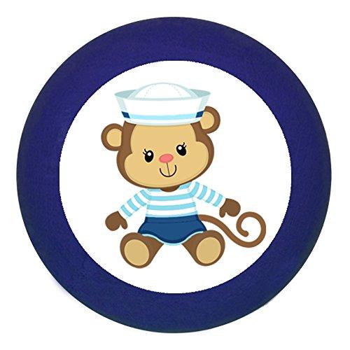 Türknauf Möbelknopf Möbelgriff Möbelknauf Jungen hellblau dunkelblau blau Massivholz Buche - Kinder Kinderzimmer Affe Äffchen sitzend Matrose maritim - dunkelblau (Glänzende Möbelknöpfe)