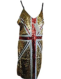 Rule Britannia Sexy Sequinned Gold Thin Strapped Union Jack dress Ginger Spice by Fat-catz