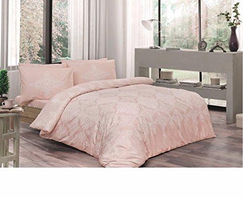 Tac Puder Farbe Full/Doppelbett/Queen 4Stück Bettwäsche Set, 100% Baumwolle Blumenmuster Bettdecke/Bettbezug-Set mit Bettbezug, Bettlaken und 2Kissenbezügen (Queen-blatt Set Mit Bettdecke)