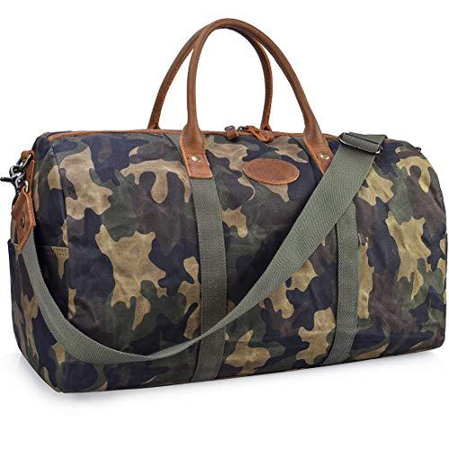 NEWHEY Vintage Reisetasche Leder Wasserdicht Canvas Unisex Handgepäck Weekender Tasche Stoff Duffle Bag Groß Wochenend Tasche Herren Damen Camo