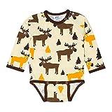 JNY Colourful Kids - Baby Jungen Langarm-Body MOOSE in creme - Bio Baumwolle Größe 68