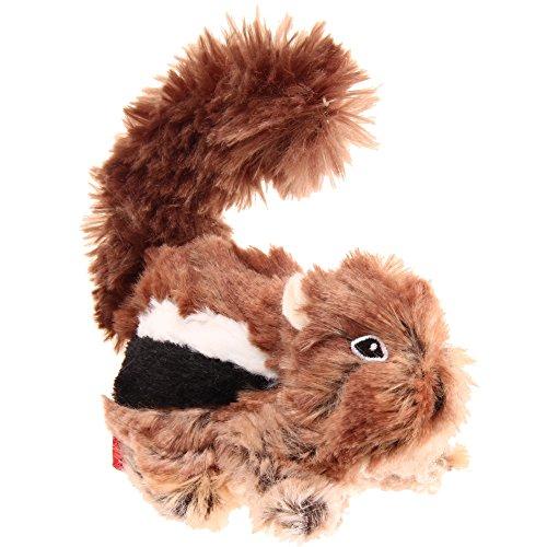 GiGwi 6259 Robustes Hundespielzeug Plush Friendz Streifenhörnchen ohne Füllung, mit doppelter Gewebelage und Quietscher, aus Plüsch