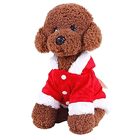 Etopfashion Christmas-Decorations Costume de Père Noël pour petits chiens chat Sweat à capuche avec des ailes d'ange Rouge Taille S/M/L/XL/XXL