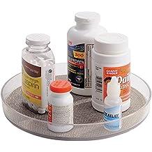 mDesign - Organizador-Bandeja giratoria - Organizador giratorio para medicamentos, productos de uso médico/para el cuidado de la salud, vitaminas, suplementos - Metálico/claro