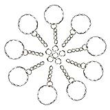 Foonii 100pcs 25mm Porte-Clés/claviers set avec anneaux Brisés et chaînes Blanks Bordés Avec 4 Chaîne de Liaison en Alliage Artisanat...