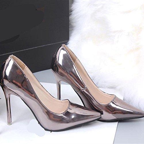 Primavera Autunno delle pompe delle donne Oro Argento Tacchi alti moda scarpe scarpe da sposa punta aguzza Donne del partito Shoes Brown