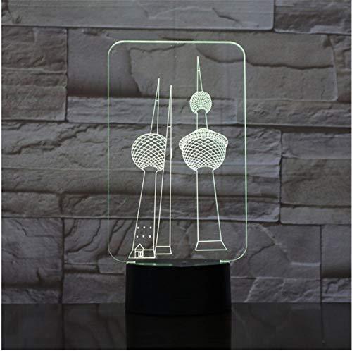 Zwei Türme Rgb 3D Led Nachtlicht Usb Schreibtischlampe 7 Farben Ändern Liebhaber Süße Freundin Geschenk Tür zu Tür