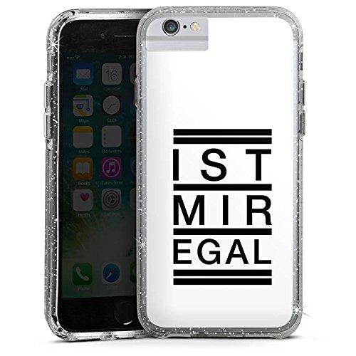 Apple iPhone 7 Bumper Hülle Bumper Case Glitzer Hülle Egal Trend Statement Bumper Case Glitzer silber