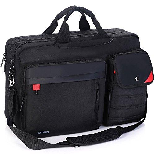 DTBG Nylon mehrzweck Businesstasche mehrfachfach Reise Rucksack geräumig Laptop Tasche Messenger Bag Aktentasche Computer Schultertasche Wanderntasche Daypack für 17,3 Zoll Laptop/Macbook/Tablet, Schwarz