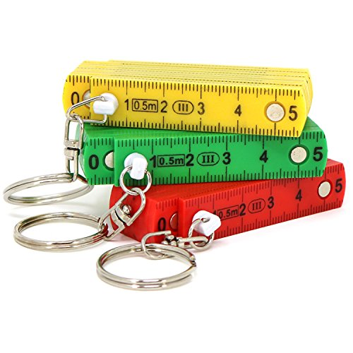 com-four 3X Mini-Zollstock als Schlüsselanhänger in Verschiedenen Farben [Auswahl variiert], 50 cm