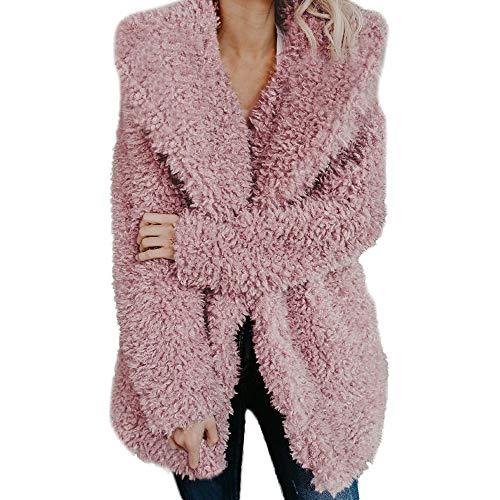 Mantel Damen Warme Künstliche Wollmantel Revers Jacke Winter Fleecejacke Faux Fur Steppmantel Trenchcoat Wintermantel Damen Winterparka Übergangsmantel
