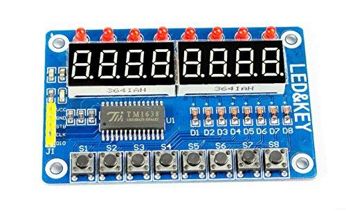 MissBirdler Digitales LED Display 8-Tasten Modul 8-Bit TM1638 für Arduino, Raspberry Pi, DIY 8 Taste Display