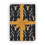 Elegantes Hirsch Geschenkpapier mit Hirsch Silhouette im Lorbeer Kranz nicht nur zu Weihnachten, grau schwarz, für tolle Geschenk Verpackung und Überraschungen (4 Bogen, 32 x 48cm)