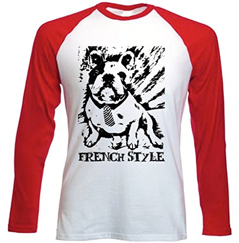 Teesquare1st Men's FRENCH BULLDOG FRENCH STYLE PB 27 Red Long Sleeved T-Shirt Size Large