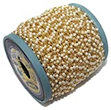 #4: Generic 5 Meter Pearl Wire Wrapped Brass Gold Plated Rosary 3-4mm Beaded Link Rosary Chain for DIY Jewelry Making Craft