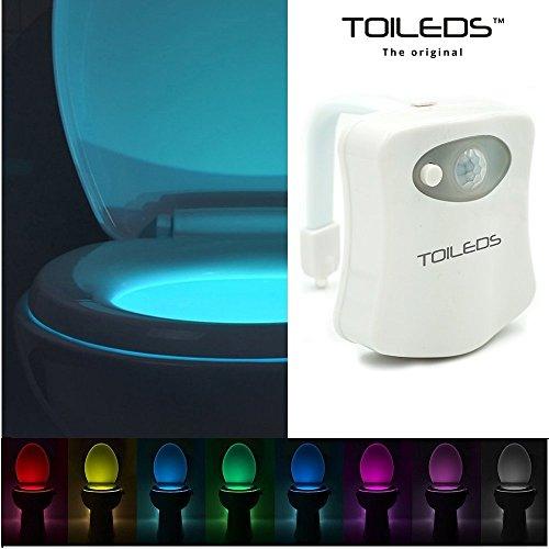 TOILEDSTM–THE ORIGINAL–Toilettenlampe, Nachtlicht, LED, mehrfarbig, Bewegungsmelder, für Badezimmer/Klosett/WC/Waschbecken/Toilettenschüssel