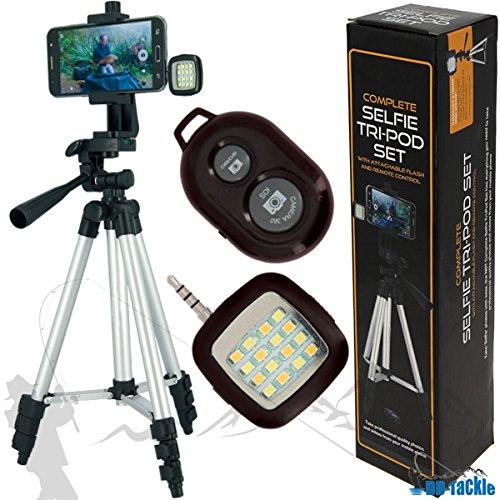 Selfie Tripod Set mit Fernbedienung und LED Licht Carp Fishing Tri Pod Stand Smartphone Stativ