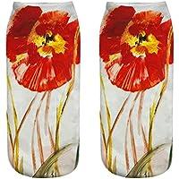 OHlive Suave Mujeres Poppy Flower 3D Impreso Zapatillas de Deporte Calcetines Tobillo (1 par-YSH05-One Size) (Color : YSH05, tamaño : Talla única)