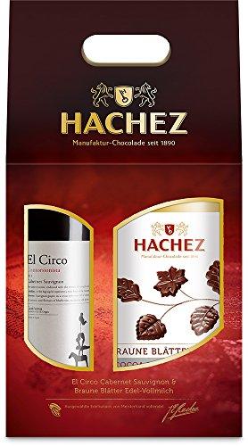 Hachez Getränke Präsent Rotwein El Circo % Braune Blätter Cocoa de Maracaibo, 1er Pack (1 x 125 g)