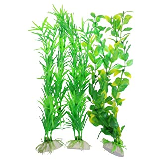 3 Pcs Aquarium Fish Tank Yellow Green Plastic Artificial Plants 13.8″ Height 51AUBxvFVVL