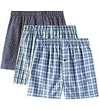 LAPASA Herren American Boxershorts, 3 Pack, Baumwolle Basics Unterhosen mit knöpfbarer Eingriff, M40 (XXL, Farbe 1) MEHRWEG