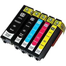 Printing Pleasure Set of 5 Compatible Epson 33XL Ink Cartridges for Epson Expression Premium XP-530 XP-540 XP-630 XP-635 XP-640 XP-645 XP-830 XP-900 - Black/Photo Black/Cyan/Magenta/Yellow, High Capacity