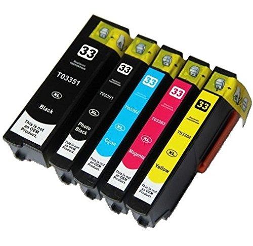 5 XL Druckerpatronen für Epson XP-530, XP-540, XP-630, XP-635, XP-640, XP-645, XP-830, XP-900 | kompatibel zu Epson T3351, T3361, T3362, T3363, T3364 / 33XL