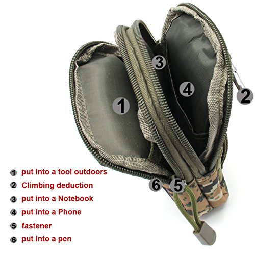 Aodoor Outdoor Reisen Sport Taktische Tasche Bauchtasche, Gürteltasche Handytasche Tasche Waist Bag-Multifunktional für Camping Reise Wandern(Braun) Style 1 Tarnung Grün