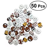 ULTNICE Bottoni di Legno Bottoni Animale con Fiore Bottoni per Cucito 20MM 50 Pezzi (Colori Assortiti)
