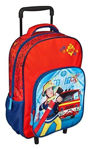 Undercover FSTU8126 - Feuerwehrmann Sam Kindergartentrolley mit Teleskopstange, 2 Rollen und Vortasche, ca. 36 x 25 x 10 cm