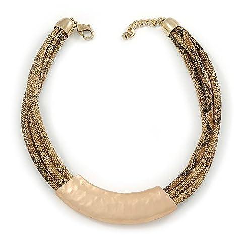 Plastron Marron imitation cuir Style Serpent Multi Cordon Collier ras du cou avec pendentif martelé ton or–43cm/l 3cm ext