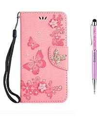 Grandoin Funda para Samsung Galaxy Note 20 Ultra 5G / 4G, PU Cuero Diamante Brillante Mariposa Case Cuerpo Completo Carcasa Protectora Cartera Soporte Función Fundas Case Cover (Rosado)